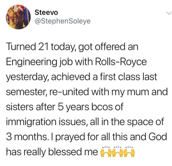 21 year old First class student celebrates after securing a job with Rolls Royce and reuniting with his family after 5 years