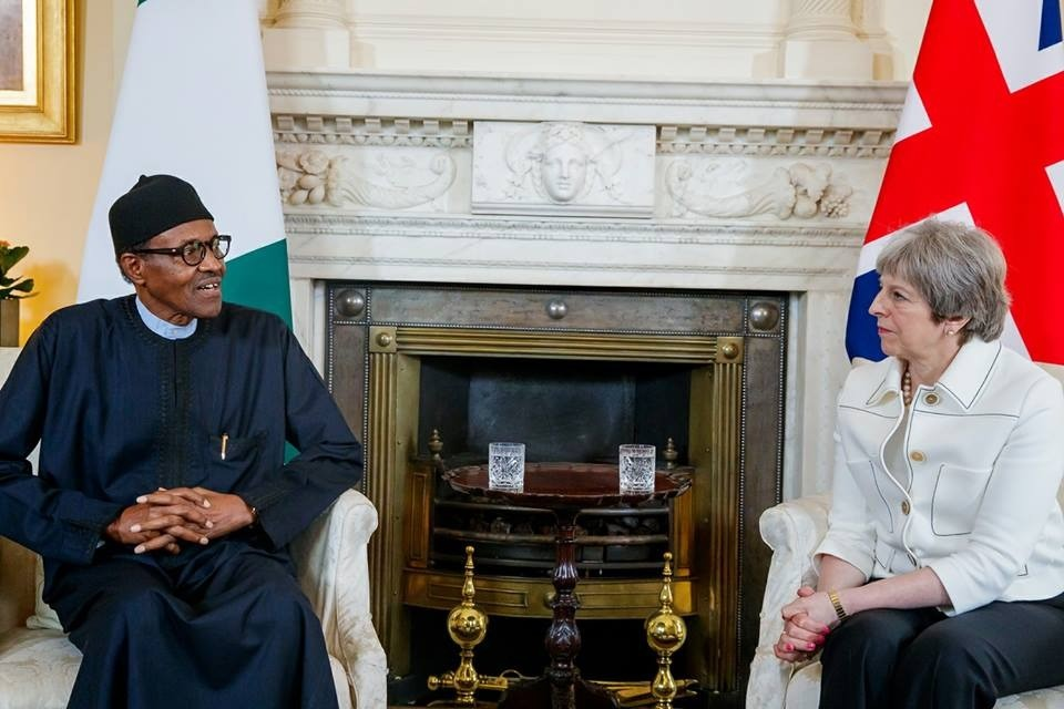 Photos/Video: President Buhari meets British Prime Minister, Theresa May