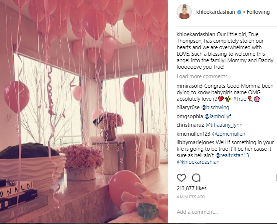 Khloe Kardashian and Tristan Thompson named their daughter True Thompson