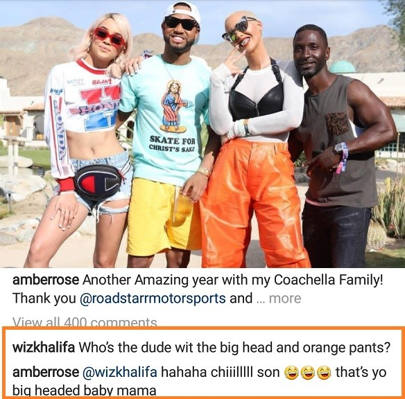 Between Amber Rose and her ex-Wiz Khalifa on Instagram?