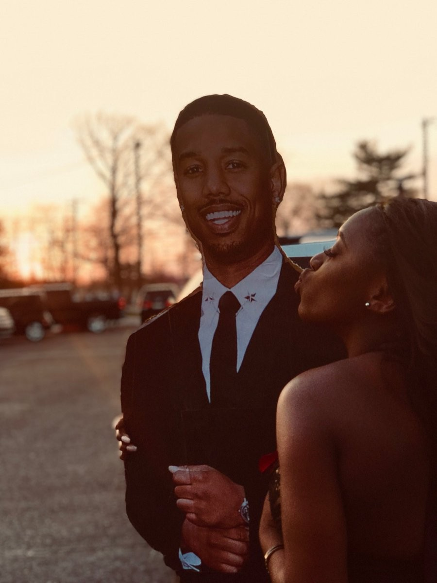 High school student goes to prom with cardboard cut out of Black Panther actor Michael B Jordan as her date