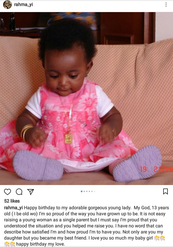 Rahama Indimi celebrates her beautiful daughter on 13th birthday, says raising her as  single parent wasn