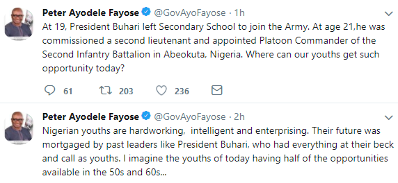 Fayose reacts to President Buhari saying that Nigerian youths do not like to work
