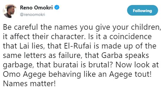 Reno Omokri will not kill somebody...says suspended senator Omo-Agege now behaving like an Agege tout