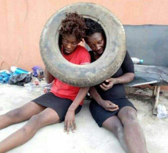 Two suspected female thieves apprehended, beaten to pulp and almost set ablaze in Onitsha (photos)
