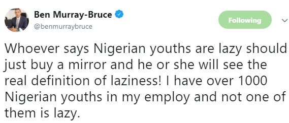 Ben Bruce trolls President Buhari for saying Nigerian youths are lazy
