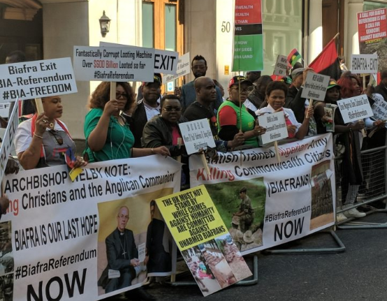 Photos of?Biafra agitators protesting in London as President Buhari meets the Queen