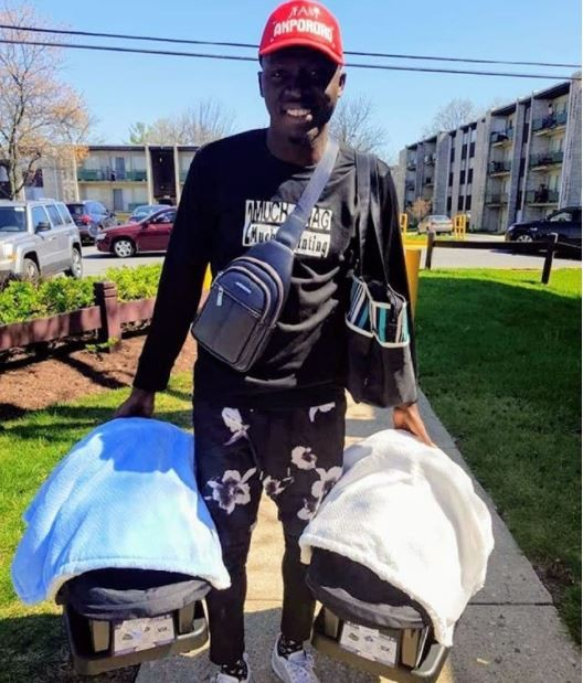 Daddy duties! Comedian, Akpororo steps out with his newborn twins for the first time
