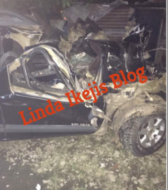 Dj Gosporella escapes death after ramming his car into a truck early this morning (Photos)