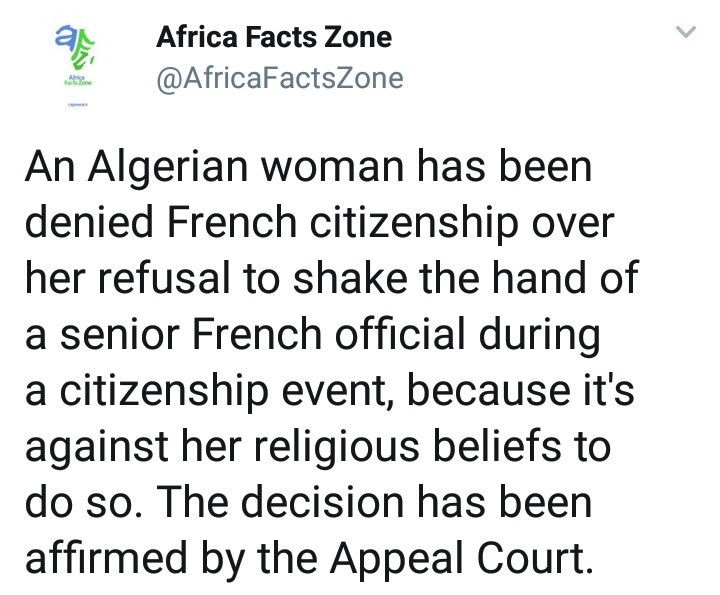 French citizenship withdrawn from woman immediately after it was given to her because she refused to shake the hand of official due to religious reason