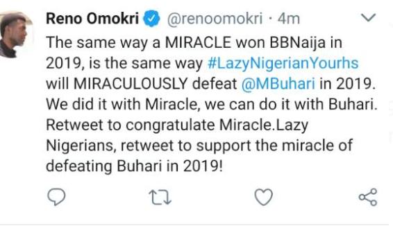 Reno Omokri, a diehard critic of Big Brother Naija uses Miracle