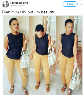 Beautiful HIV positive South African lady celebrates herself on Twitter