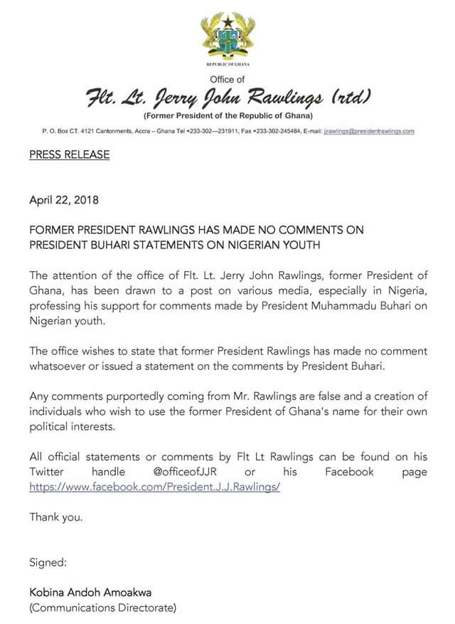Former Ghanaian leader, Jerry Rawlings distances himself from President Buhari