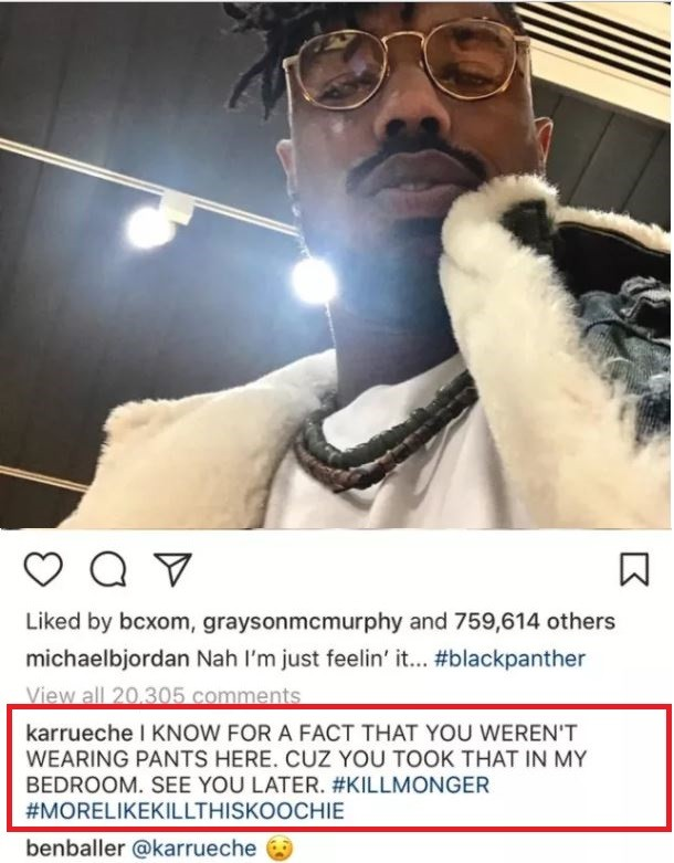 Isn#t she in a relationship? Karrueche Tran drops extremely thirsty comment on Michael B Jordan