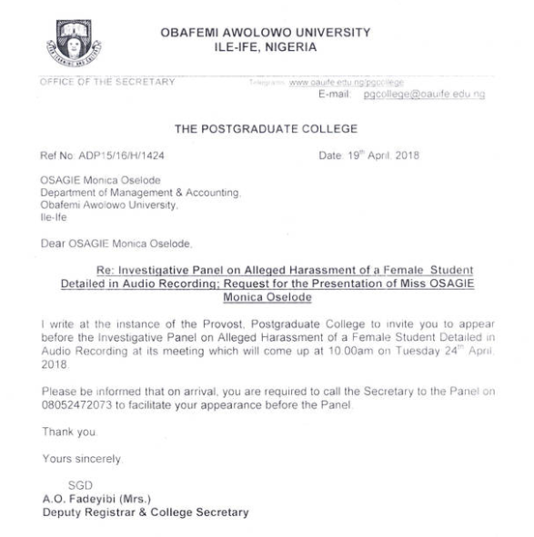 OAU sex-for-mark victim, Monica Osagie?summoned to appear before an investigative panel tomorrow