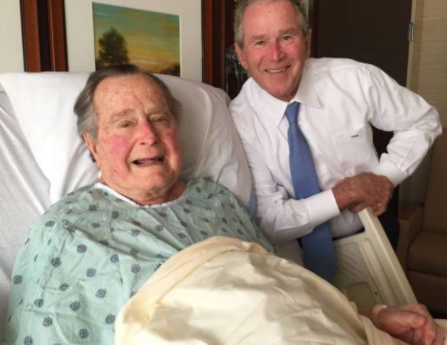 Former US president George?Bush hospitalized?a day after his wife