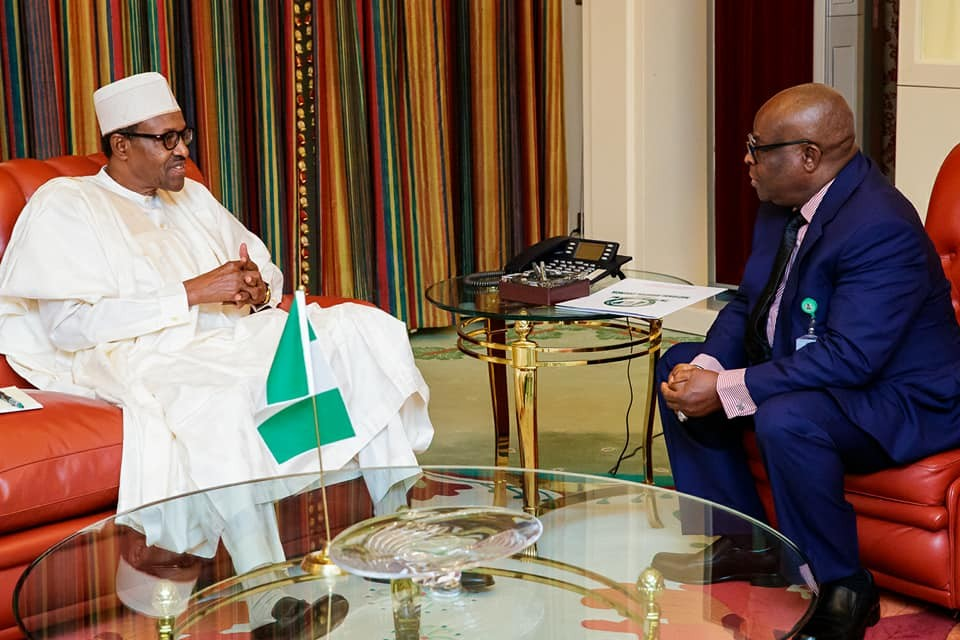 Photos: President Buhari in closed door meeting with CJN, Walter Onnoghen