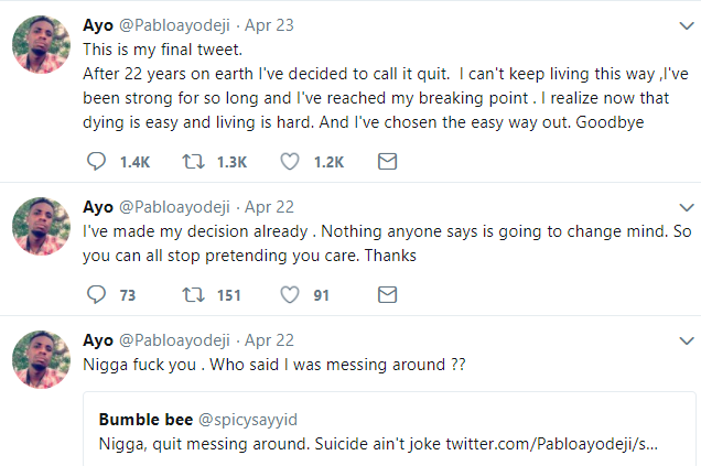"""Infamous """"keep the change bae"""" in fresh scandal as he claims to be suicidal to get money from social media users (screenshots)"""