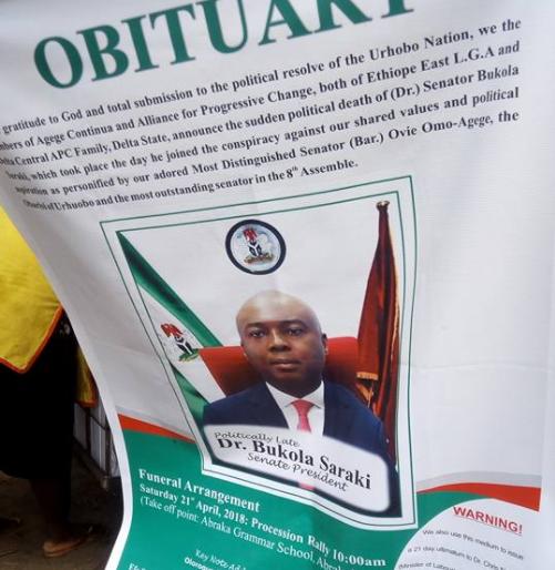 Aggrieved supporters of suspended senator Ovie Omo-Agege release senate president Bukola Saraki
