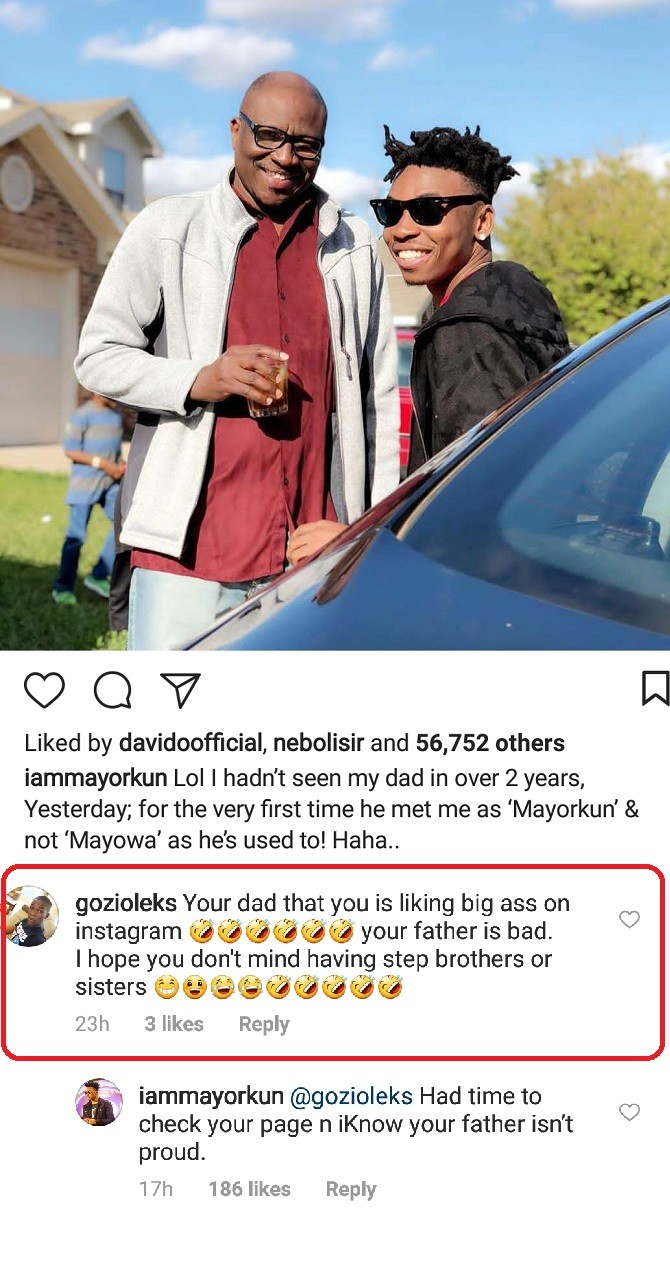 Between singer, Mayorkun and a Nigerian cross-dresser who came for his dad on Instagram (Screenshot)