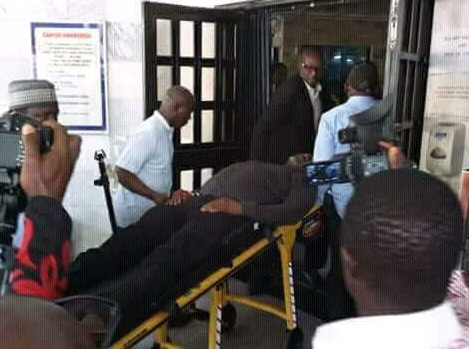 Photo/Video: Senator Dino Melaye rushed to Abuja hospital after jumping from Police vehicle