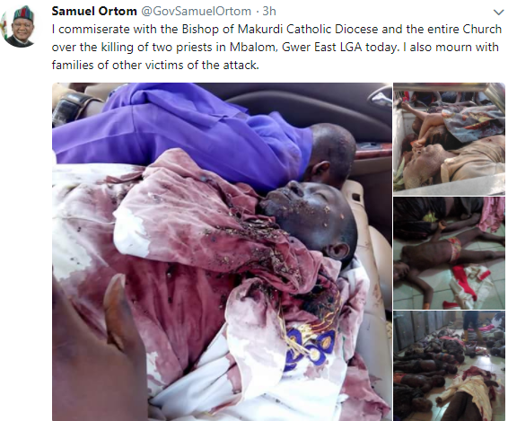 Benue state governor, Samuel Ortom, mourns priests and parishioners killed in today
