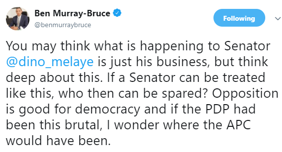 Ben Bruce reacts to Dino Melaye