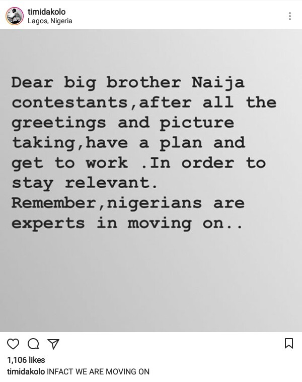 Singer, Timi Dakolo has an important message for Big Brother Naija contestants