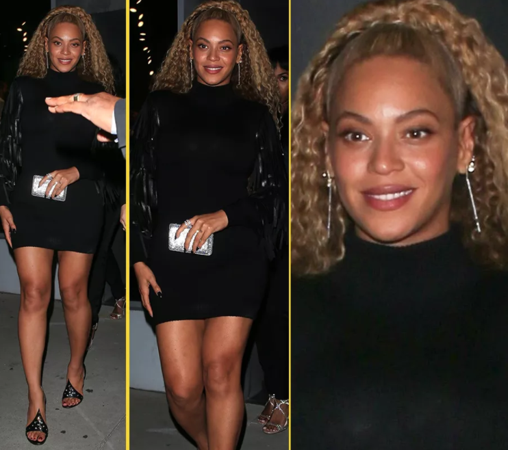 Beyonce in mini dress as she