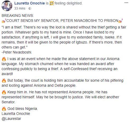 Lauretta Onochie rejoices as serving senator Peter Nwaoboshi is sent to prison, says he is a self-confessed thief
