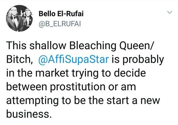 Bello El Rufai calls female twitter user a bleaching bitch and prostitute in fiery exchange
