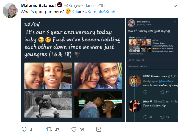 Lady shares photos of her and her boyfriend to celebrate three years anniversary but she gets more than she bargained for