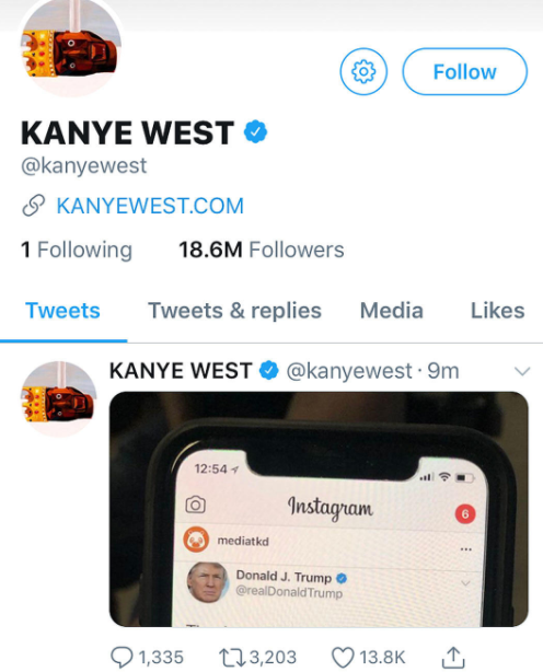 Kanye West didn?t lose millions of Twitter followers for supporting President Trump; Here