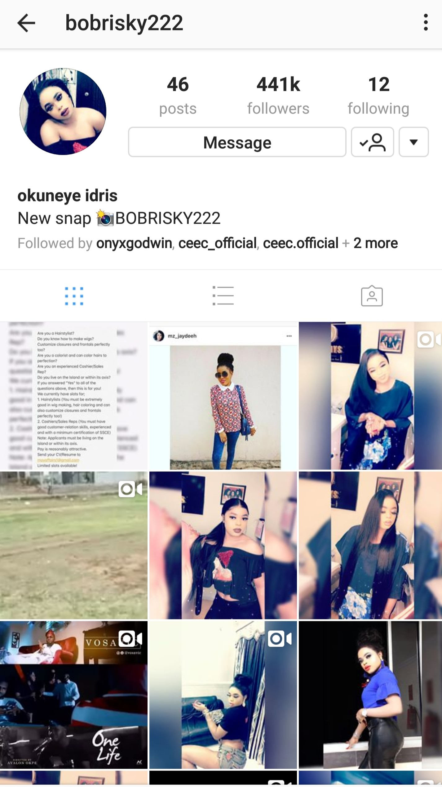 Bobrisky unfollows BBNaija