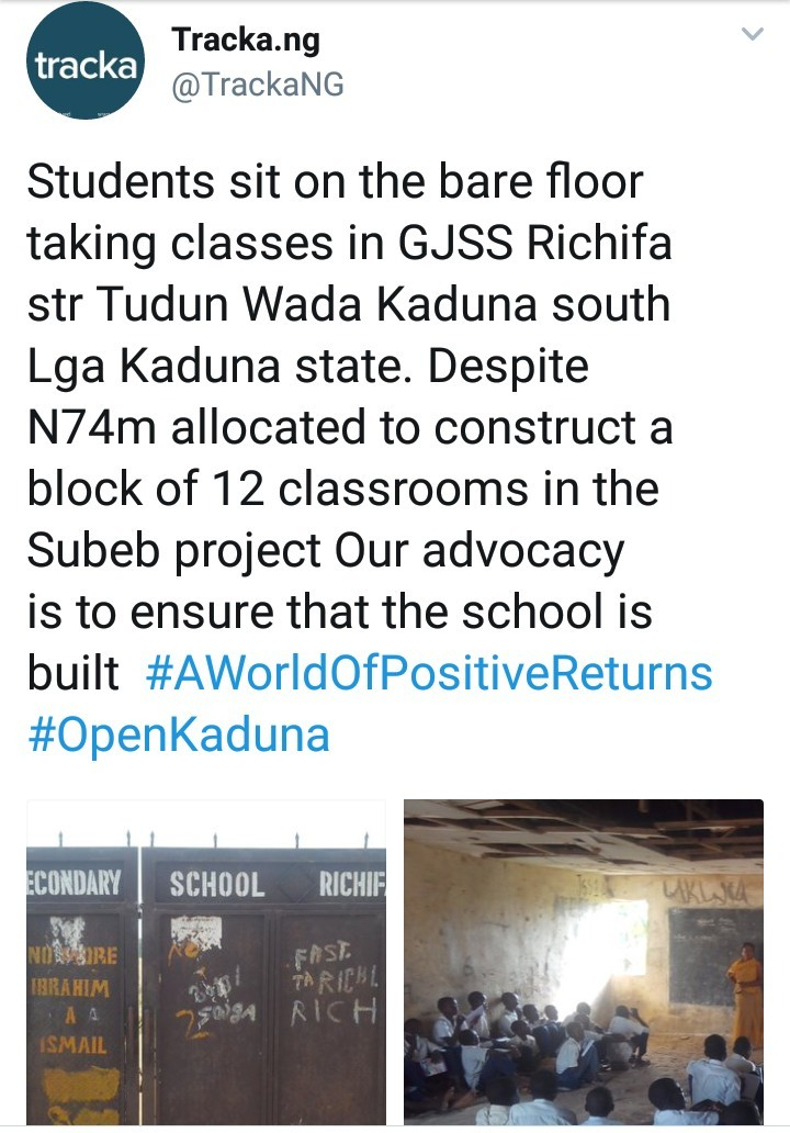Students in Kaduna school sit on the floor in dilapidated classrooms despite