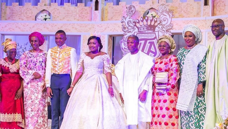 Yemi Osinbajo and wife at the wedding of the daughter of the Secretary to the Government of the Federation, Mustapha Boss(photos)