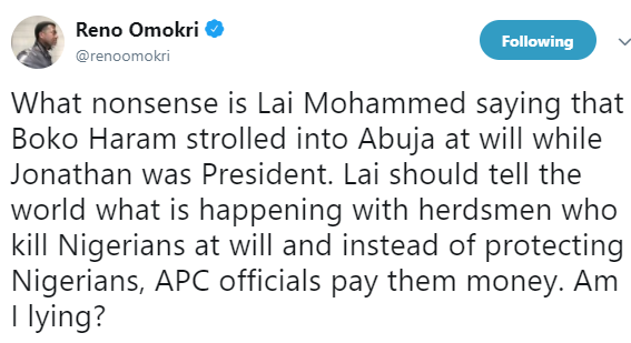 Reno Omokri reacts to Lai Mohammed