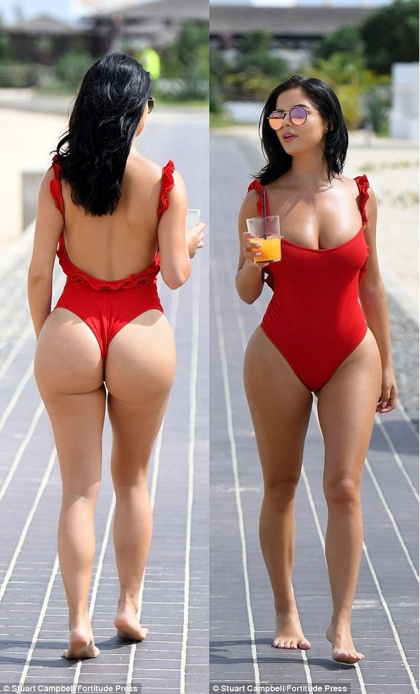 Demi Rose in a swimsuit back and front