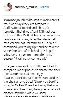 Gospel singer who received miraculous acne healing from Dunamis pastor, Paul Eneche share before and after pics as she celebrates one year of her healing
