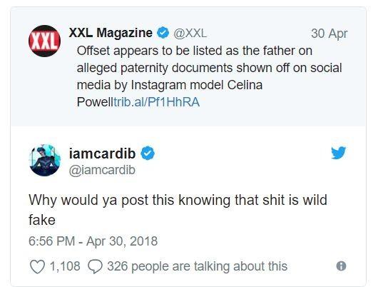 Cardi B responds to Offset