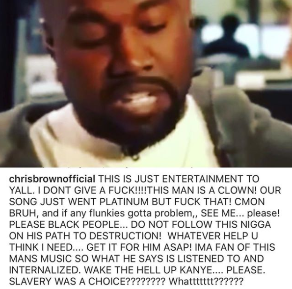 This man is a clown, do not follow him on his path to destruction - Chris Brown blasts Kanye West