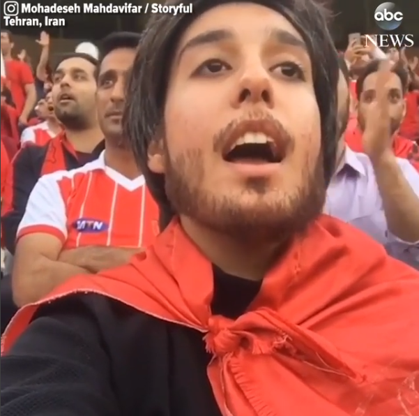 Iranian woman wears fake beard disguise to sneak into a soccer match because Iranian females are forbidden from watching soccer in stadiums