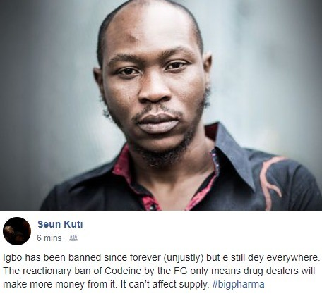 Seun Kuti reacts to ban of Codeine, says