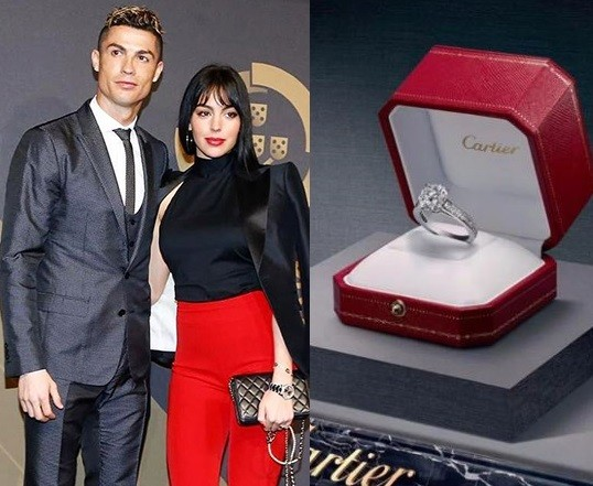Cristiano Ronaldo Reportedly Engages Girlfriend Georgina Rodriguez With Cartier Diamond Engagement Ring Worth N300m Photos