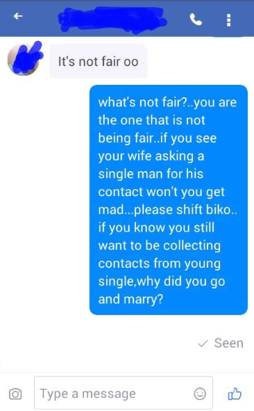 Lady shares screenshots of messages sent to her by a married man as she calls out married men who can