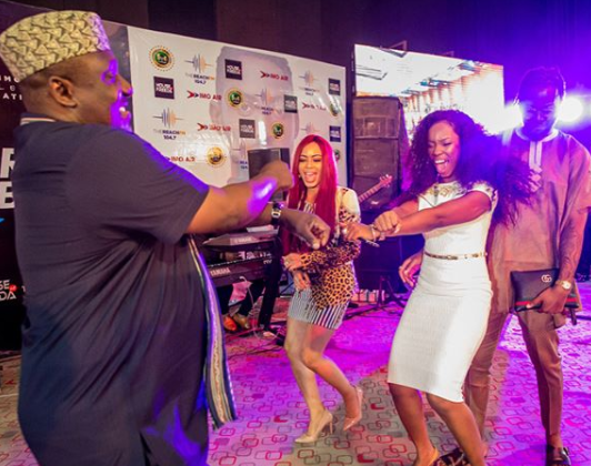 Photos:  Governor Rochas Okorocha dances shaku shaku with ex- BBNaija housemates Bam Bam, Nina, Teddy A and Miracle