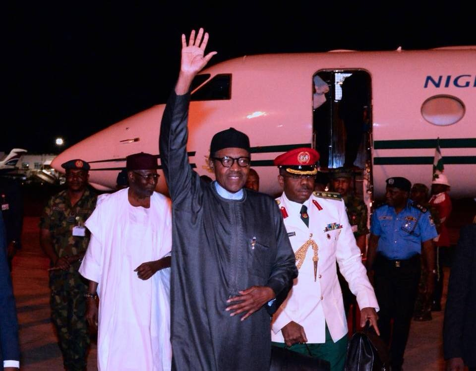 President Buhari arrives Nigeria after a