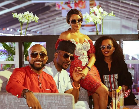 Power couples! Banky W and his wife pose with Ebuka Obi-Uchendu and his wife in lovely photo