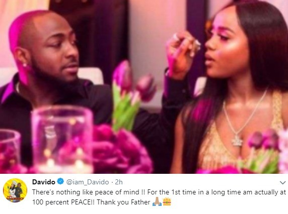 """""""For the 1st time in a long time, I am actually at 100% peace"""" - Davido says days after gifting Chioma a Porsche SUV"""