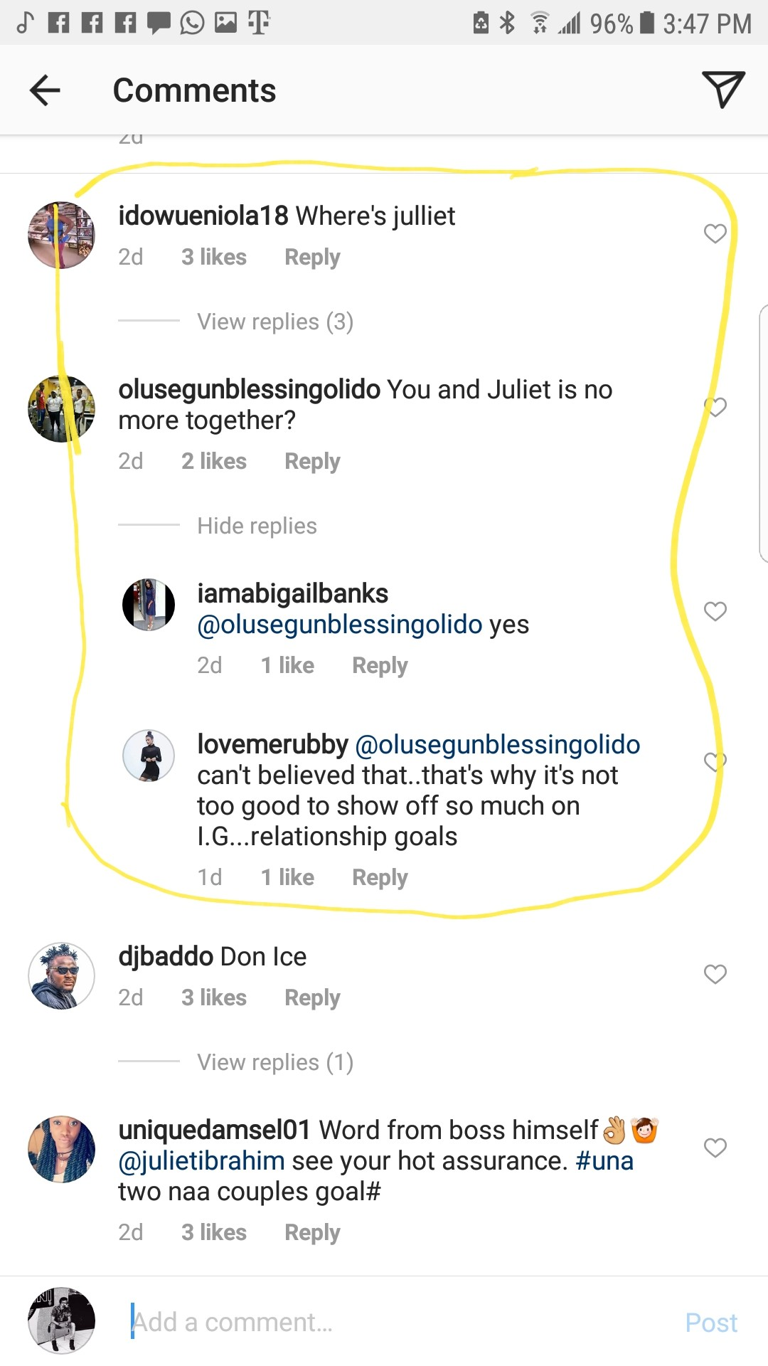 Concerned fans are asking if Juliet Ibrahim and Iceberg Slim are still dating (Screenshots)